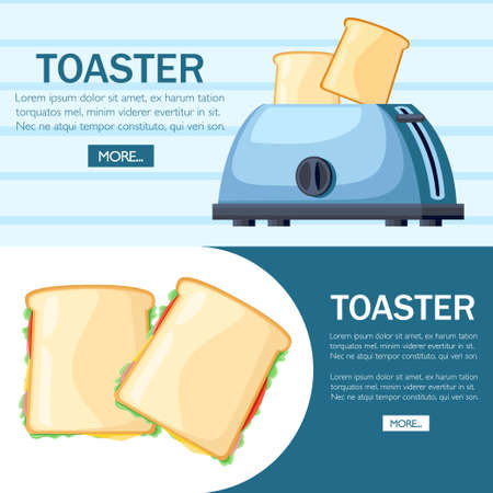Blue toaster. Steel toaster with two slices of bread. Cartoon style design. Two ready-to-eat sandwich. Vector illustration on background