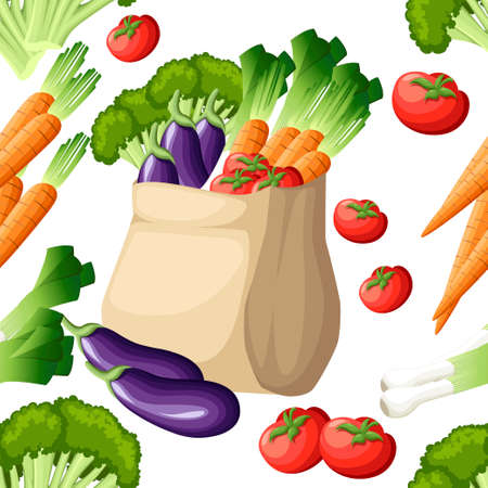 Seamless pattern. Eco friendly paper bag. Recycled shopping bag with vegetables. Recycled pack with fresh organic food. Healthy vegetables grown locally. Vector illustration on white background