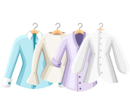 Set of colorful blouses. Collection of women blouse. Clothes on hangers. Vector illustration isolated on white background. Foto de archivo - 103504797