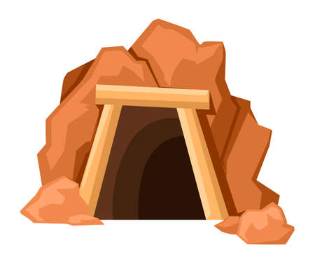 Cartoon mine entrance. Retro tunnel. Old mine in desert. Flat vector illustration isolated on white background. 矢量图像