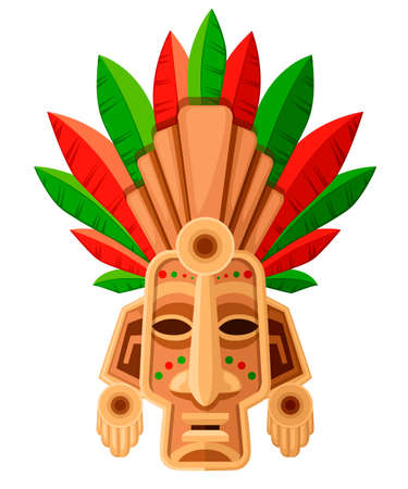 Ethnic tribal mask. Mask with green and red leaf. Ritual headdress, colorful. Vector illustration isolated on white background.