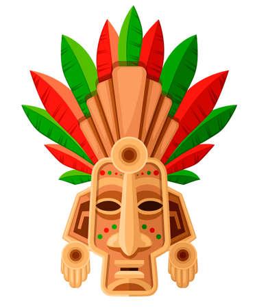 Máscara tribal étnica. Máscara con hoja verde y roja. Tocado ritual, colorido. Ilustración de vector aislado sobre fondo blanco.