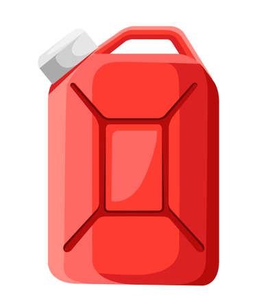 Red fuel canister icon. Fuel container jerrycan. Gasoline canister. Flat design style. Vector illustration isolated on white background.