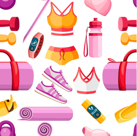 Seamless pattern. Set of sports accessories and clothes. Women outfits. Orange and pink color collection. Icons for classes in the gym. Vector illustration on white background. Vettoriali
