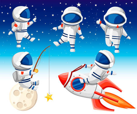 Cute astronaut collection. Astronaut sits on rocket, astronaut sits on moon and fishing and three dancing astronauts. Cartoon design style. Flat vector illustration on sky background.