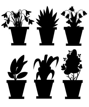 Black silhouette. Set of flowers in pots. Indoor and outdoor landscape garden potted plants. Illustration of flower pot bloom. Vector illustration isolated on white background. 版權商用圖片 - 103505198