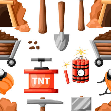 Seamless pattern. Mining icon set. Cartoon mine entrance, and tools for mining and quarrying. Retro tunnel. Old mine. Flat vector illustration on white background. 矢量图像