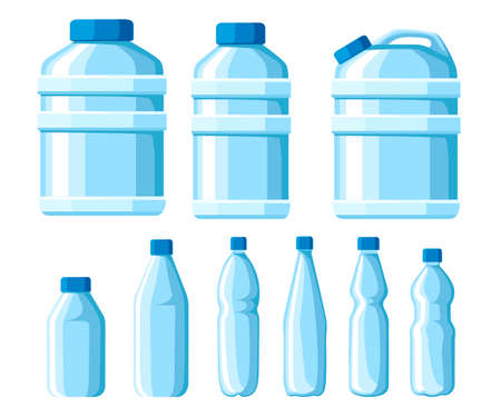Plastic water bottle set. Healthy agua bottles vector illustration. Clean drink in plastic container. Templates for bottles with water. Vector illustration isolated on white background.