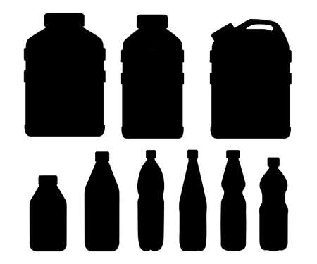 Black silhouette. Plastic water bottle set. Healthy agua vector illustration. Clean drink in plastic container. Templates for bottles with water. Vector illustration isolated on white background.