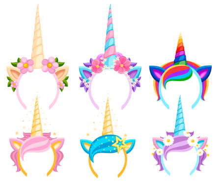 Set of Unicorn tiaras with flowers and leaf. Vector fashion accessory headband. Head band with rainbow style. Vector illustration isolated on white background. Illustration