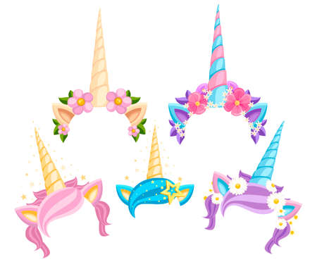 Collection of Unicorn tiaras with flowers and leaf. Vector fashion accessory headband. Vector illustration isolated on white background.