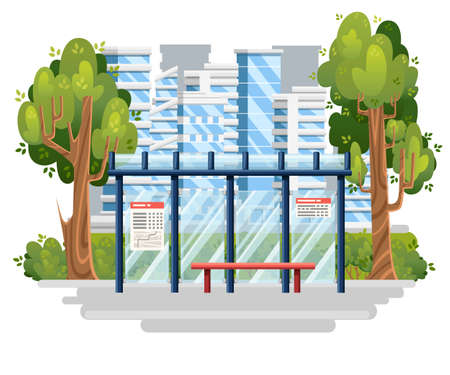 Bus stop illustration. Modern city on background. Flat design style. Green tree and bushes. Vector illustration. City concept. Иллюстрация