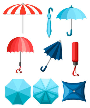 Collection of umbrellas. Flat style design. Umbrellas in various positions. Parasol opened and taken down. Vector illustration isolated on white background.