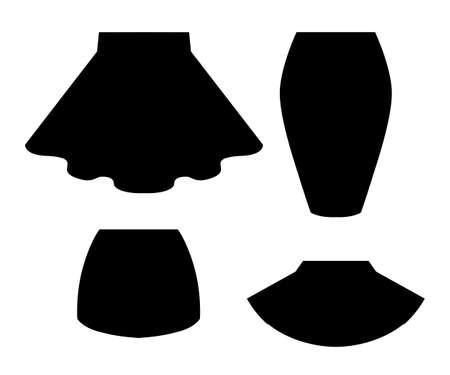 Black silhouette. Set of women summer skirt. Flat vector illustration. Isolated on white background. Illustration