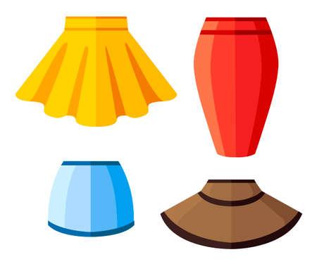 Set of women summer skirt. Flat vector illustration. Isolated on white background.