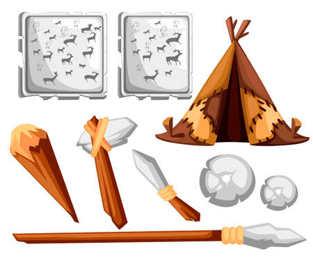 Ancient man hut. Prehistoric house from skins leather. Stone age tools and rock painting. Flat style design. Vector illustration isolated on white background. Archivio Fotografico - 103750724