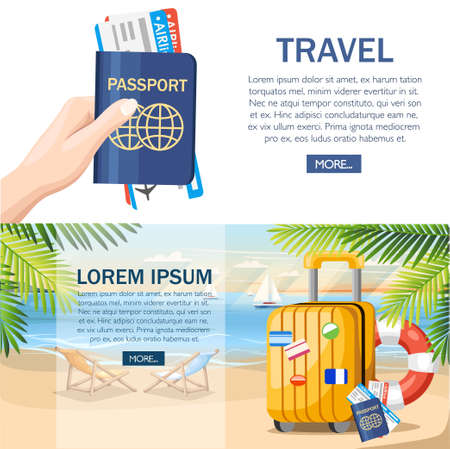 Summer vacation concept. Yellow luggage, passport, ticket on summer beach. Flat style design. Vector illustration on beach background with green palm leaves. Web site page and mobile app design.