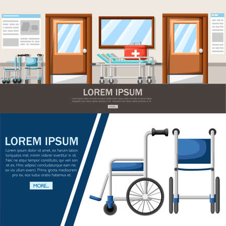 Empty hospital corridor. Clinic hallway interior with wheelchair and hospital bed. First aid kit. Medical concept. Vector illustration. Web site page and mobile app design.