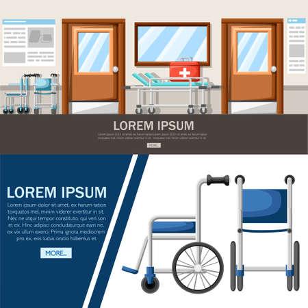 Pasillo del hospital vacío. Interior del pasillo de la clínica con silla de ruedas y cama de hospital. Kit de primeros auxilios. Concepto médico. Ilustración vectorial Diseño de páginas web y aplicaciones móviles.