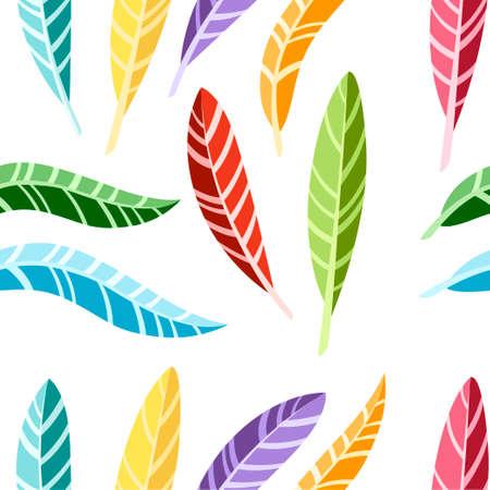 Patrón sin costuras. Plumas de pájaro de colores. Colección de iconos planos. Ilustración sobre fondo blanco.