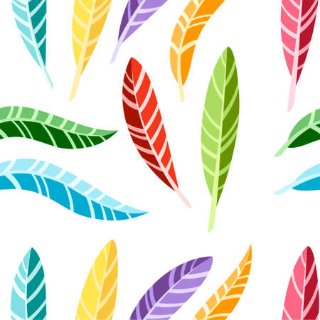 Seamless pattern. Colorful bird feathers. Flat icon collection. Illustration on white background.