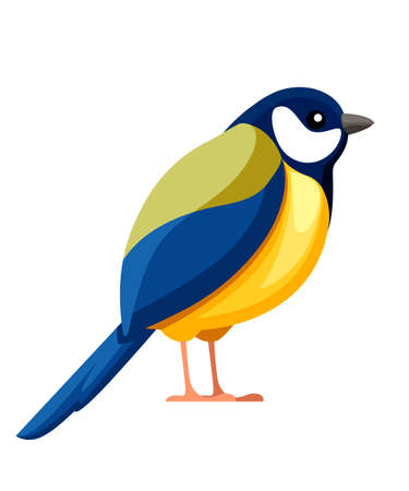 Titmouse bird. Flat cartoon character design. Colorful bird icon. Cute yellow and blue tit. Vector illustration isolated on white background.
