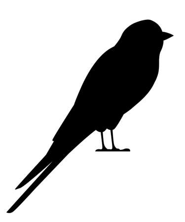Black silhouette. Swallow bird. Flat cartoon character design. Black bird icon. Cute swallow sit . Vector illustration isolated on white background.