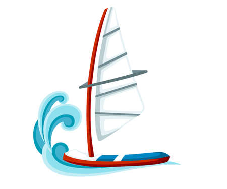 Cartoon sailing board on water. Equipment for windsurfing. Sailboard vector illustration isolated on white background.
