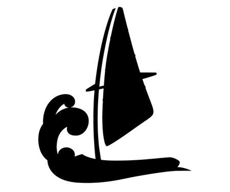 Black silhouette. Cartoon sailing board on water. Equipment for windsurfing. Sailboard vector illustration isolated on white background.