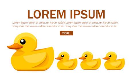 Pato de goma amarillo. Patito lindo de dibujos animados para el baño. Ilustración de vector plano sobre fondo blanco. Diseño de concepto para sitio web o publicidad.