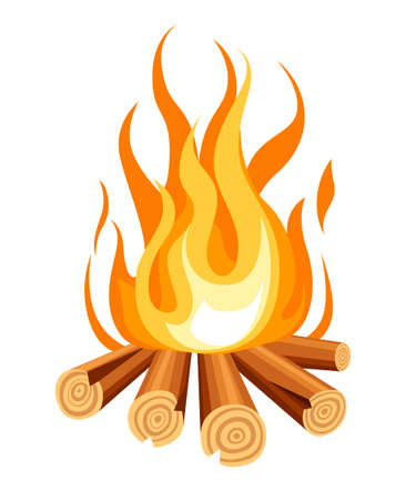 Burning bonfire with wood. Vector cartoon style illustration of bonfire. Isolated on white background. Ilustração