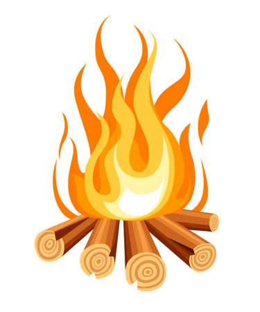 Burning bonfire with wood. Vector cartoon style illustration of bonfire. Isolated on white background. Vettoriali