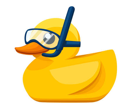 Yellow rubber duck. Cartoon cute ducky for bath. Duckling with diving mask and snorkel. Flat vector illustration isolated on white background.