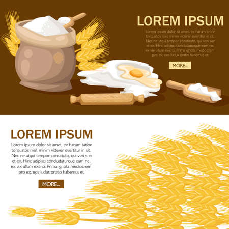 Full bag of flour with rolling pin. Egg yolk in flour. Wheat ears with wooden scoop. Vector illustration on white background. Bakery concept design for website or advertising.