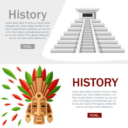 Aztec pyramid icon. Kukulkan Pyramid with ethnic tribal mask. Old stone temple. Mexican and Maya culture. Vector illustration on white background. History concept design for website or advertising.