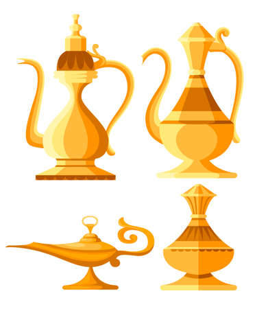 Set of arabic jug and oil lamp illustration. Aladdin magic or genie lamp. Flat style vector illustration. Isolated on white background.