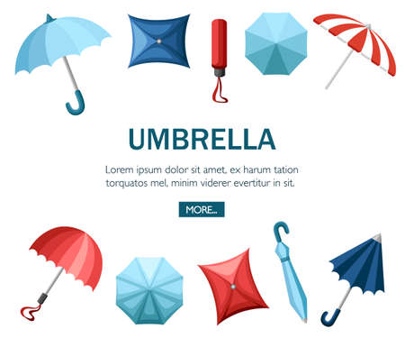 Collection of umbrellas. Flat style design. Umbrellas in various positions. Parasol opened and taken down. Flat vector illustration on white background. Concept design for website or advertising. Illustration