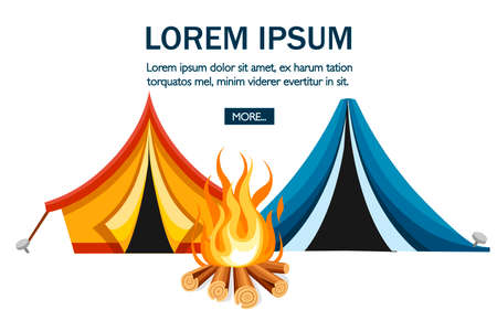 Cartoon tent and bonfire. Blue and orange tent. Sport tourism nature. Flat vector illustration on white background. Camping concept design for website or advertising.