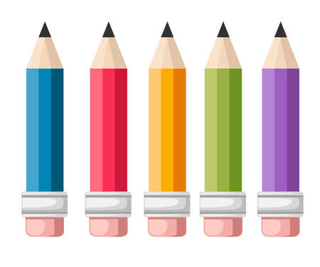 Set of vector colored pencils. Five pencils with eraser. Flat cartoon style. Vector illustration isolated on white background.