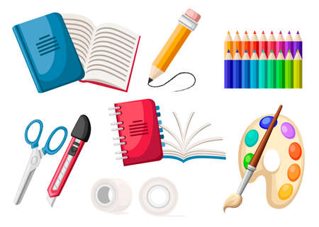 Set of stationery icons. Spiral and normal notebook, adhesive tape, palette, pencils, knife and scissors. Flat office icon. Flat vector illustration isolated on white background. Illustration