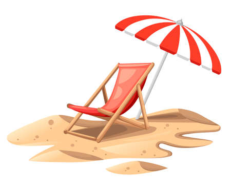 Red beach chair with umbrella. Wooden chair on sand. Colorful summer illustration. Flat vector illustration isolated on white background. Standard-Bild - 115003282