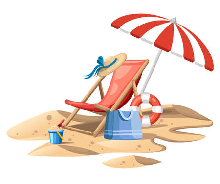 Bucket and spade. Red beach chair with umbrella. Wooden chair and plastic toy on sand. Summer icon. Flat vector illustration on white background. Travel concept design for website or advertising.