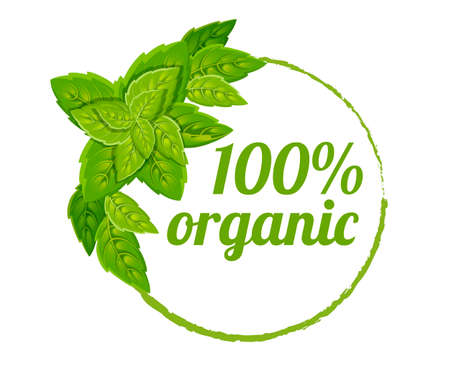 100 organic logo design. Green vector eco stamp. Color icon with leaves. Flat vector illustration. Isolated on white background.