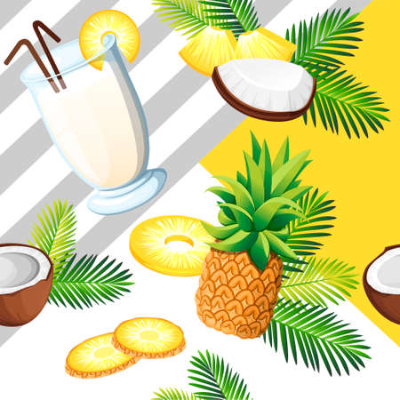 Exotic seamless pattern. Pina colada with coconut, pineapple. Drinking glass. Concept design for card and advertising. Flat vector illustration on white background.