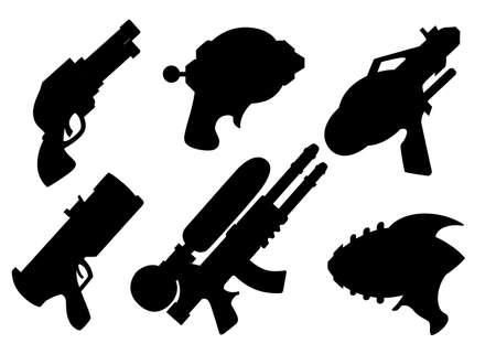 Black silhouette. Cartoon gun collection. Flat vector toys. Space laser guns design. Vector illustration isolated on white background. Ilustração