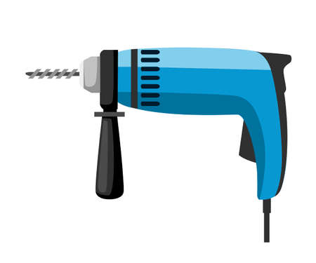 Electric drill illustration. Blue hand drill with black handle. Wired instrument. Building tool. Colorful icon. Flat vector illustration isolated on white background.