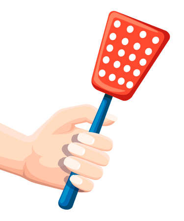 Hand hold fly swatter. Tool for destruction of insects at home. Red swatter with blue handle. Flat vector illustration isolated on white background. Illustration