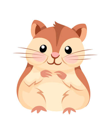 Cartoon animal illustration. Cute hamster sit and smiling. Flat character design. Vector illustration isolated on white background. Zdjęcie Seryjne - 114770651