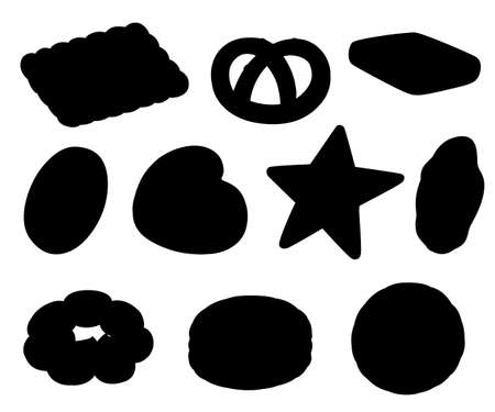 Black silhouette. Cookie and biscuit icon collection. Colorful flat vector cookies set. Circle, star, sandwich, different shape. Vector illustration isolated on white background. Illustration