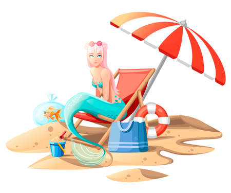 Beautiful mermaid. Cute cartoon style mermaid sitting on beach chair. Pink hair color and turquoise bra and tail. Flat vector illustration on white background with sand.